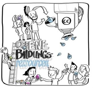 business illustration zum thema offene bildungs ressourcen