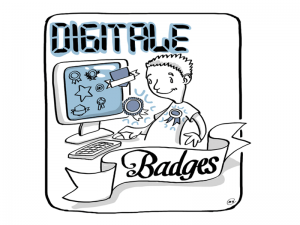 business illustration zum thema digitale badges