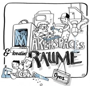 business illustration zum thema maker spaces
